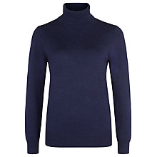 Buy Planet Merino Wool Roll Neck Jumper, Navy Online at johnlewis.com