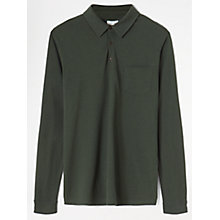 Buy Jigsaw Wool Cotton Long Sleeve Polo Shirt, Forest Online at johnlewis.com
