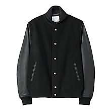 Buy Jigsaw Leather Sleeve Bomber Jacket, Black Online at johnlewis.com