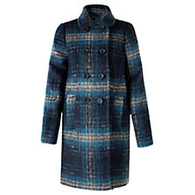 Buy Jigsaw Winter Brushed Check Coat, Teal Online at johnlewis.com