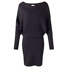Buy Jigsaw Waffle Stitch Batwing Dress, Black Online at johnlewis.com