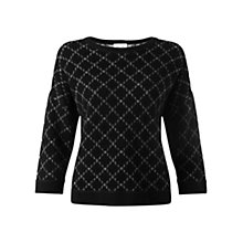 Buy Jigsaw Quilted Knitted Jumper, Black Online at johnlewis.com
