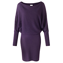 Buy Jigsaw Waffle Stitch Batwing Dress, Dark Purple Online at johnlewis.com