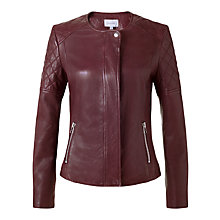 Buy Jigsaw Quilted Leather Jacket, Burgundy Online at johnlewis.com