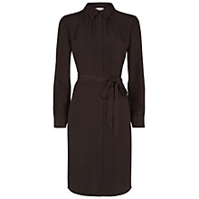 Buy Hobbs Animal Silk Shirt Dress, Light Bitter Chocolate Online at johnlewis.com