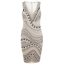 Buy Miss Selfridge Wave Embellished Dress, Nude Online at johnlewis.com
