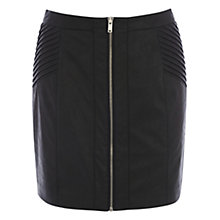 Buy Oasis Clare Leather Mini Skirt, Black Online at johnlewis.com
