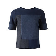Buy Jigsaw Patchwork Herringbone Top, Blue Online at johnlewis.com