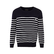 Buy Polo Ralph Lauren Boys' Long Sleeve Top, Navy/White Online at johnlewis.com