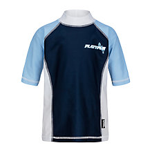 Buy Platypus Boys' Short Sleeve Colour Block Rash Vest, Blue Online at johnlewis.com