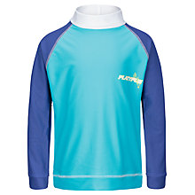 Buy Platypus Boys' Long Sleeve Stripe Back Rash Vest, Aqua Online at johnlewis.com