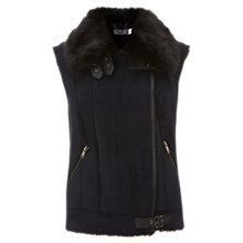 Buy Mint Velvet Mixed Faux Fur Gilet, Navy Online at johnlewis.com