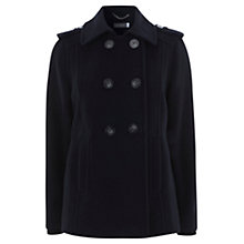 Buy Mint Velvet Knitted Cuff Pea Coat, Navy Online at johnlewis.com