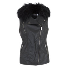 Buy Mint Velvet Waxed Faux Fur Gilet, Black Online at johnlewis.com
