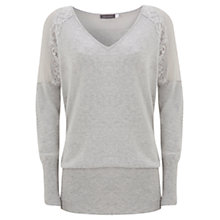 Buy Mint Velvet Lace and Sheer Detail Jumper, Grey Online at johnlewis.com