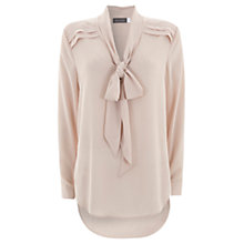 Buy Mint Velvet Tie Neck Blouse, Pale Pink Online at johnlewis.com