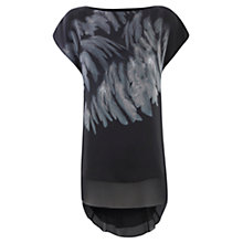 Buy Mint Velvet Harlow Feather Print Silk Tunic Top, Black Online at johnlewis.com