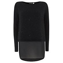 Buy Mint Velvet Sparkle Double Layer Jumper, Black Online at johnlewis.com