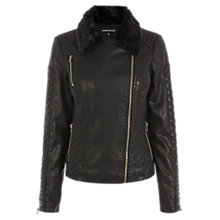 Buy Warehouse Quilted Faux Fur Collar Jacket, Black Online at johnlewis.com