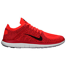 Buy Nike Free 4.0 Flyknit Men's Running Shoes, Bright Crimson/University Red Online at johnlewis.com