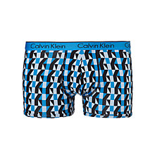 Buy Calvin Klein Underwear Cotton Stretch Geometric Trunks, Blue Online at johnlewis.com