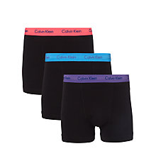 Buy Calvin Klein Underwear Cotton Stretch Trunks, Pack of 3, Black Online at johnlewis.com