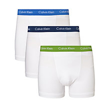 Buy Calvin Klein Underwear Cotton Stretch Trunks, Pack of 3, White Online at johnlewis.com