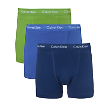 Buy Calvin Klein Underwear Cotton Stretch Trunks, Pack of 3, Green/Blue/Navy Online at johnlewis.com