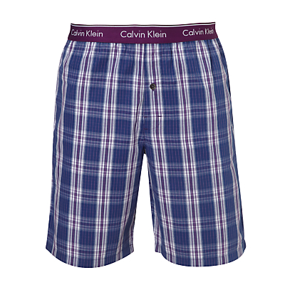 Calvin Klein Collins Plaid Check Lounge Shorts, Purple