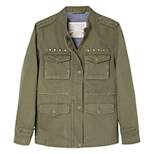 Buy Mango Kids Girls' Stud Detail Cotton Jacket, Khaki Online at johnlewis.com