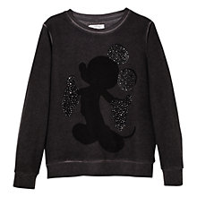 Buy Mango Kids Girls' Embellished Micky Mouse Sweatshirt, Charcoal Online at johnlewis.com