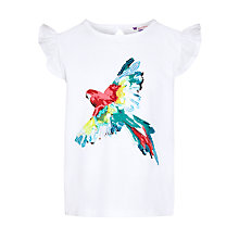 Buy John Lewis Girl Appliqué Parrot T-Shirt, White Online at johnlewis.com