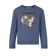 Buy John Lewis Girl Sequin Heart Motif Sweatshirt, Navy Online at johnlewis.com