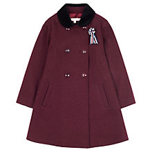 Buy Jigsaw Junior Girls' Contrast Collar Coat, Red Online at johnlewis.com