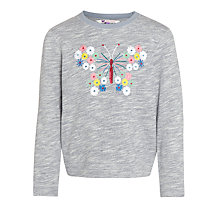Buy John Lewis Girl Butterfly Pull On Sweater, Grey/Multi Online at johnlewis.com
