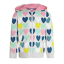 Buy John Lewis Girl Heart Zip Through Hoodie, Multi Online at johnlewis.com