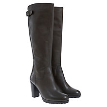 Buy Mint Velvet Aggie Leather Heeled Knee Boots, Grey Online at johnlewis.com
