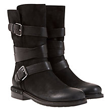 Buy Mint Velvet Izzy Strap and Buckle Detail Leather Calf Boots, Black Online at johnlewis.com