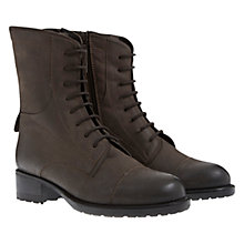 Buy Mint Velvet Sadie Heavy Tread Leather Lace-Up Boots, Grey Online at johnlewis.com