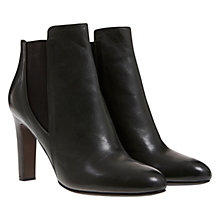 Buy Mint Velvet Martha Leather Heeled Ankle Boots, Darkest Green Online at johnlewis.com