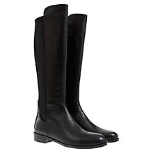 Buy Mint Velvet Rosie Knee High Leather Flat Boots, Black Online at johnlewis.com