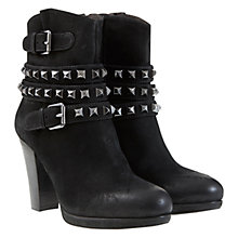 Buy Mint Velvet Biker Style Heeled Leather Ankle Boots, Black Online at johnlewis.com