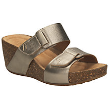 Buy Clarks Temira East Leather Wedges, Gold Metallic Online at johnlewis.com