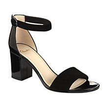 Buy Clarks Susie Deva Leather Block Heel Sandals, Black Online at johnlewis.com