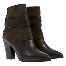 Buy Mint Velvet Taylor Pointed Toe Block Heel Leather & Suede Ankle Boots Online at johnlewis.com