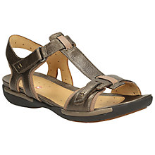 Buy Clarks Un Voshell Leather Sandals, Bronze Online at johnlewis.com