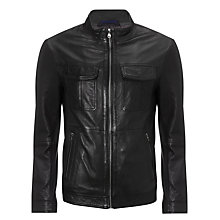 Buy BOSS Malron Leather Jacket, Black Online at johnlewis.com