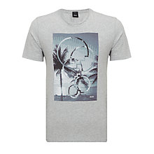 Buy BOSS Terni Graphic Print Crew Neck T-Shirt, Grey Online at johnlewis.com
