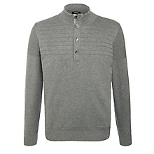 Buy BOSS Lemar Knitted Marl Funnel Neck Jumper, Grey Melange Online at johnlewis.com