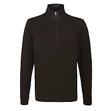 Buy BOSS Piceno Jersey Zip Funnel Neck Jumper, Black Online at johnlewis.com